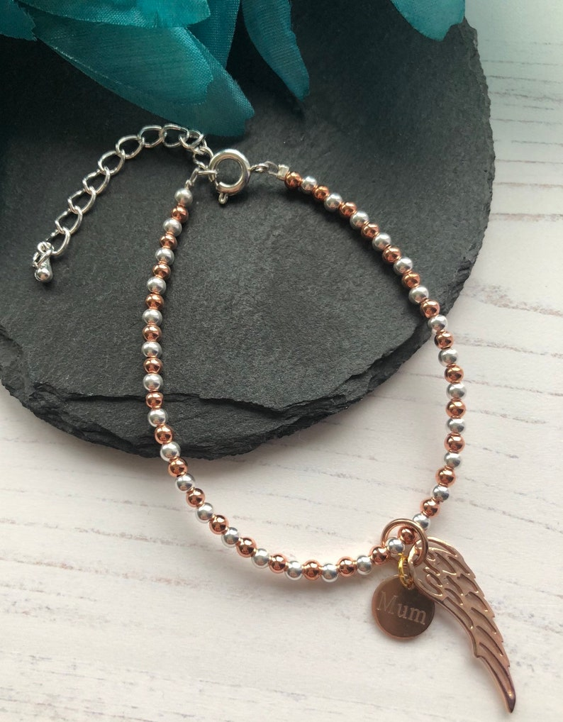rose gold bracelet rose gold in memory of Personalised bracelet angel wing Mothers day gift sterling silver feather memory bracelet