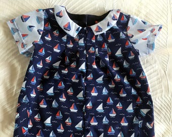 """Baby Romper and matching Cap""""EDWARD"""" SIZE 6-12MTHS"""