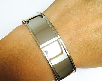 Set of 10 cuff bracelets rigid plated silver - 18 mm x 16 cm long adjustable
