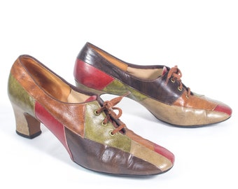 102c3f340488 VTG 70 s size 7 1 2 Women s Leather Patchwork Pumps Retro Red Green Brown  High Heels Lace Up Heels Oxfords Oxford Heels