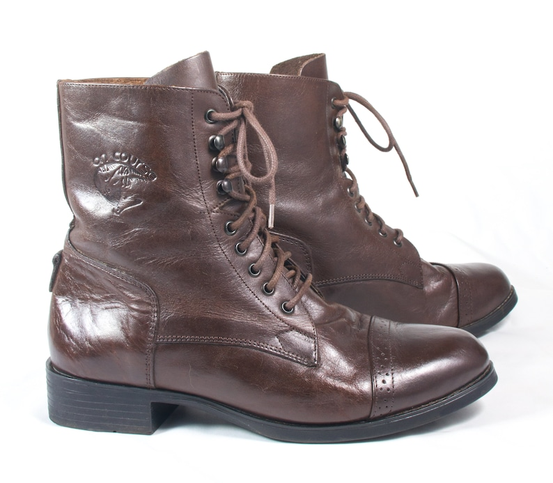 56f97a98993 VTG 80's size 7 Women's Brown Leather Boots Ankle Boots Lace Up Boots  Riding Boots Classic Walking Hiking Boots Boho Granny Boots Booties