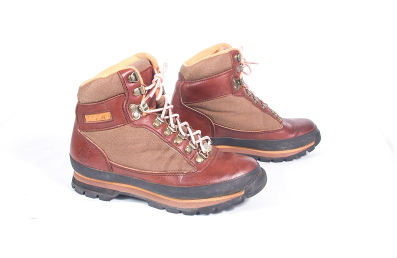 a67915d6e25 VTG 90's size 7 Women's Brown Leather & Canvas Hiking Boots Walking Boots  Ankle High Booties Timberlands Comfy Classic