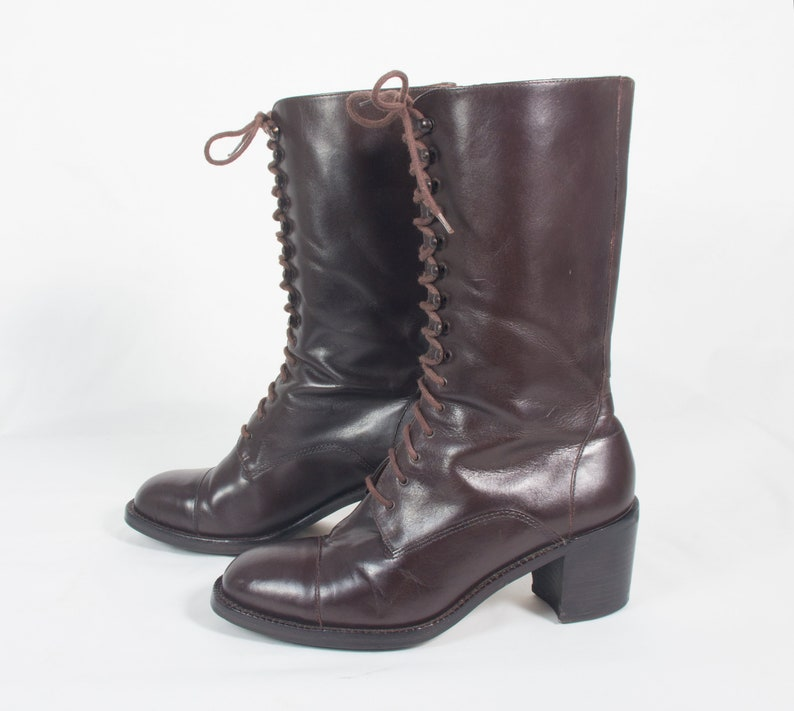 9b475f05b9c VTG 90's size 6 1/2 Women's Brown Leather Boots Lace Up Mid Calf High Heel  Boots Stacked Heels Boho Granny Boots Riding Boots