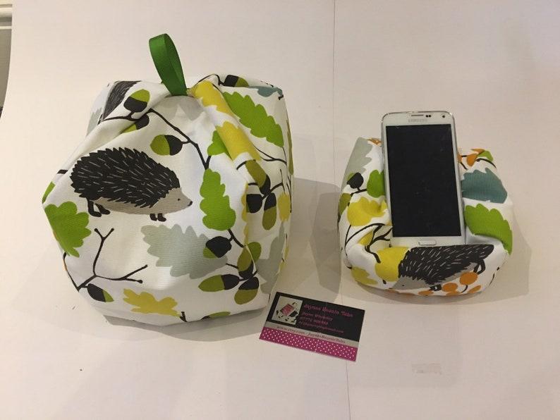 Bean bag cushion stand for iPad tablet book.Handmade.Multi Coloured Hedgehogs.
