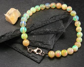 Precious Opal Genuine Bracelet ~ 7 Inches  ~ 7mm Round Beads