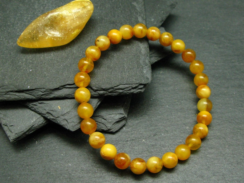 Butterscotch Baltic Amber Genuine Bracelet ~ 7 Inches  ~ 7mm Round Beads