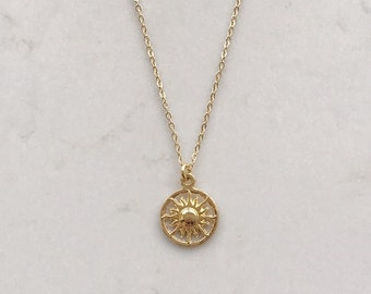 a9db016bd963 Delicate disk 14k gold necklace