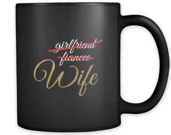 Girlfriend,Fiancee,Wife Just Married Party Squad Black 11oz  Mug
