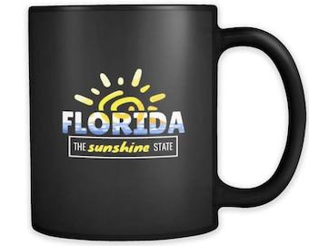 Florida, Sunshine State, Tropical American Black Mug 11oz