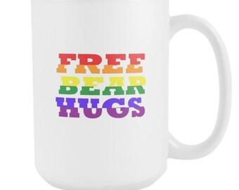 Free Bear Hugs Rainbow Share The Love 15oz Mug