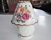 ON SALE Vintage Tea Light Holder Hand Painted Porcelain with Flowers and Gold Trim Victorian Style