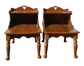 VINTAGE Pair Baumritter End Tables, CLOVER DESIGN, Colonial Style Furniture,  Mid Century Modern Decor.