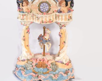 VINTAGE Carousel Music Box BOHO Pink Victorian Shabby Chic Nursery Decor Gift For Her