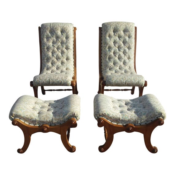 Remarkable Antique Victorian Carved Wood Upholstered Slipper Accent Chair W Matching Footstools Unemploymentrelief Wooden Chair Designs For Living Room Unemploymentrelieforg