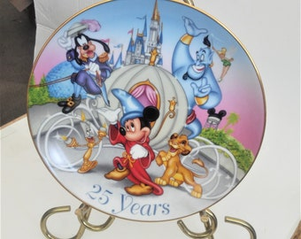 """ON SALE Vintage Disney Plate, 25 Year Commemorative Disney Plate, """"Remember the Magic of 25 Years of Disney Plate"""