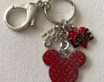 Mickey Mouse Ear Key Chain With Love Charm