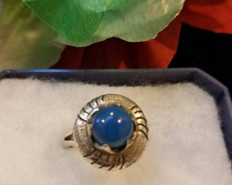 Vintage Blue and Sterling Silver Ring - .925, Size 6