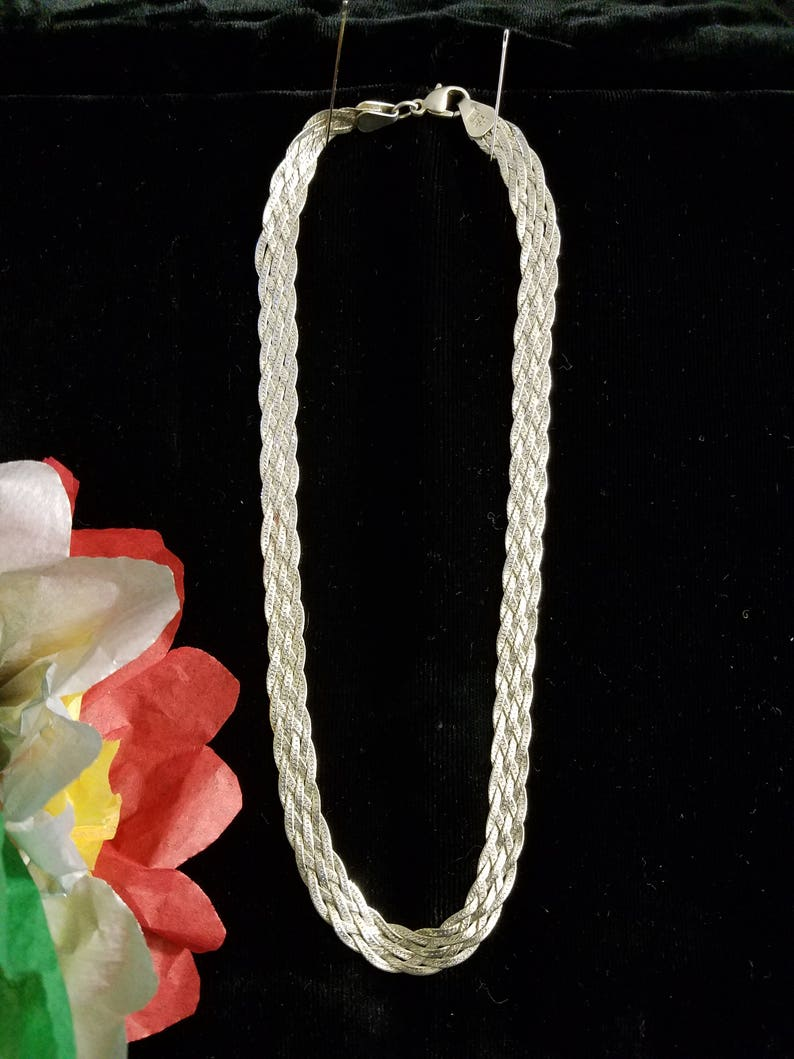 6 Strand Vintage Mexican Sterling Silver Braided Herringbone Necklace