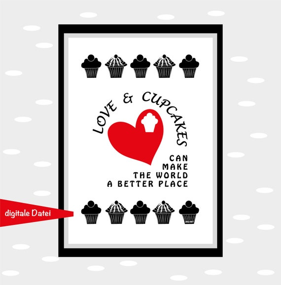Schwarz Weiss Poster Fur Esszimmer Und Kuche Love And Cupcakes Etsy