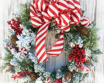 Flocked Candy Cane Wreath