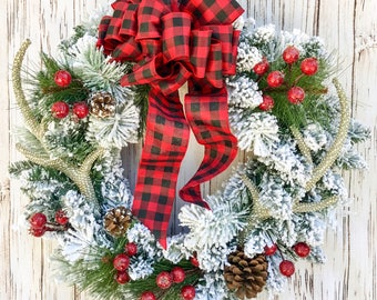 Flocked Buffalo Plaid Wreath