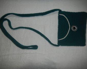 Real teal crochet bag