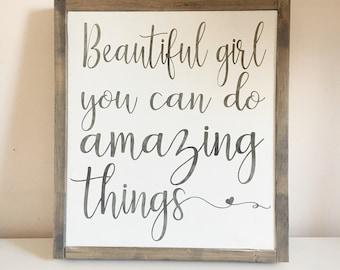Beautiful Girl You Can Do Amazing Things | Baby Girl Nursery Decor | Girls  Room Decor