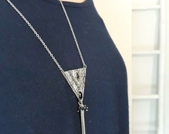 Antique black and silver triangle necklace