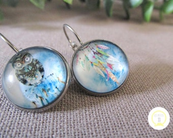Blue bohemian glass and Silver earrings