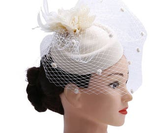 Ivory Pillbox Wedding Fascinator 1ad050d50e2