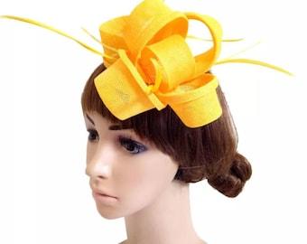 6b31f28351aff Yellow Fascinator Hat - Wedding Hat