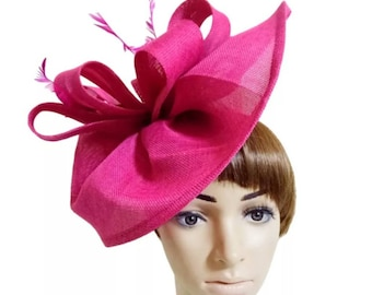 18ad0f8e5f5be Hot Pink Fascinator Hat - Wedding Hat