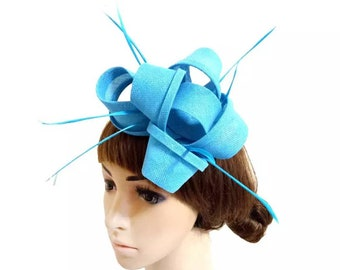 c7db2a75fe46e Blue Fascinator Hat Wedding Bridesmaids Kate Middleton Kentucky Derby Hat  Cocktail Tea Party Hat Race Hat Church Easter CrownJewell