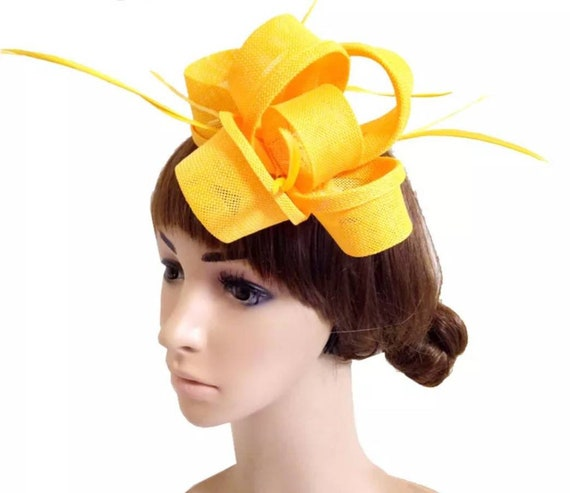 Kentucky Derby Yellow fascinator with dotted veil for wedding church hat for races mother of the bride or special occasion tea party