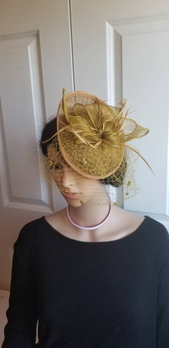 bright gold fascinator millinery burlesque wedding hat ascot race bridal party 1