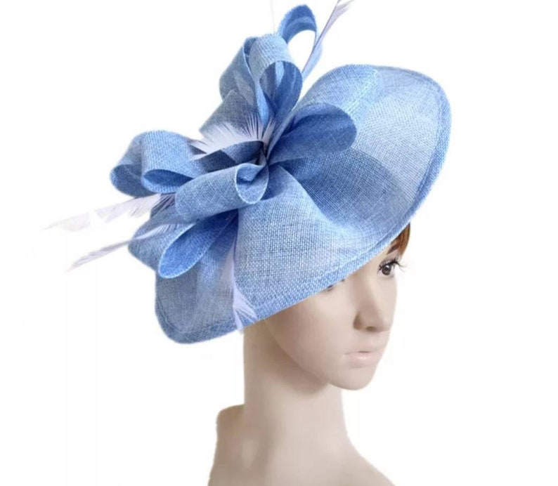 dab54991c237f Light Blue Fascinator Hat Wedding Hat Kentucky Derby Hat