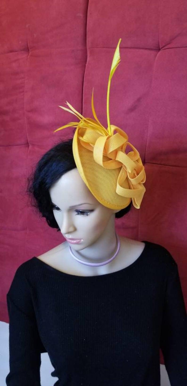 4d4e56e7a18ed Yellow Fascinator Hat Wedding Bridesmaids Kentucky Derby Hat