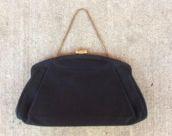 Black Party Handbag Vintage Evening Bag Black and Gold Purse