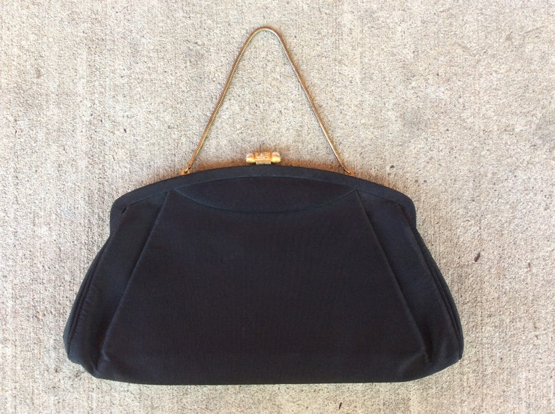 27e93aec1f1 Black Party Handbag Vintage Evening Bag Black and Gold Purse | Etsy