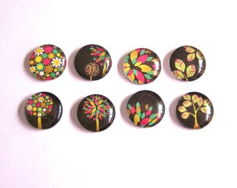 8 pink black green multicolor tree 18mm image glass cabochons
