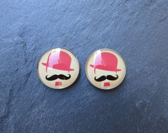 4 cabochons 18mm Mr mustache and pink black Bowler Hat