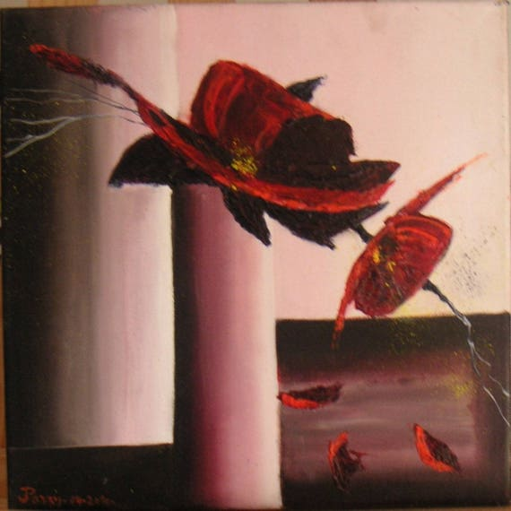 Tableau Peinture Moderne Fleur Dans Vase