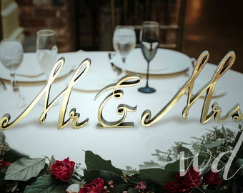 Classic Script Gold Metallic Sweetheart Table Wedding Reception Centerpiece  Decor, Bride Groom, Cheap Shipping!
