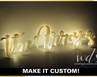 Family Name Custom LIghted Sign, 5in. w/ TEALIGHTS Sweetheart table sign head table light up LED mr & mrs sign centerpiece