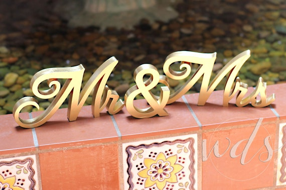 Mr Mrs Sign 5in Classic Script Gold Sweetheart Table Etsy