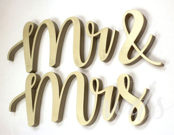 Mr Mrs Sign 5in Vintage Script Champagne Metallic Etsy