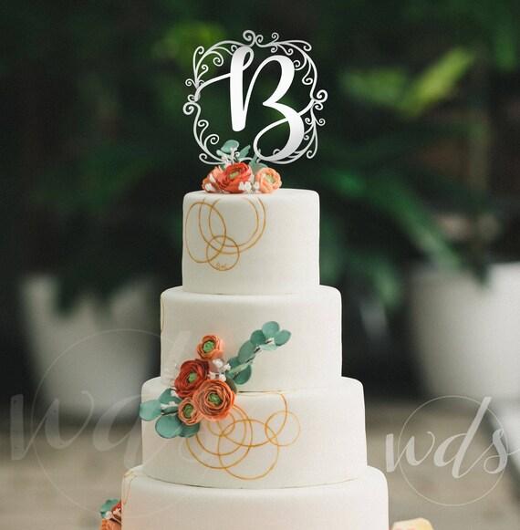 Wedding Cake Topper Monogram Letter 6in Vintage Script Custom Cake Topper Bling Wedding Initials Wedding Day Studio Free Shipping