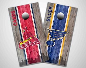 St Louis Cardinals and St Louis Blues skyline cornhole, corn hole, sports cornhole, tailgating, lawn game, cornhole decals, cornhole wraps
