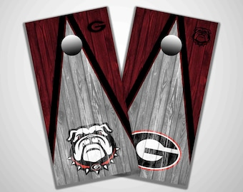 Georgia Bulldogs, cornhole, corn hole, sports cornhole, bean bag toss game, tailgating, lawn game, cornhole decals, cornhole wraps