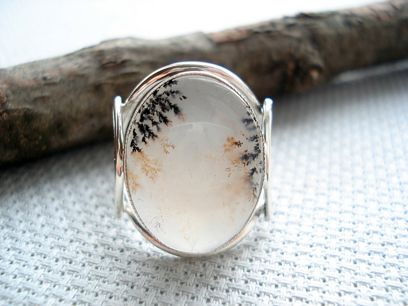 Russian ringring with agatering of silveragatemoss agatedendritic agatebeautiful ringlandscape agatering for womenRussian